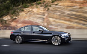 Picture road, movement, markup, black, vegetation, blur, BMW, slope, the fence, sedan, 5, 2017, 5-series, G30, …