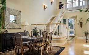 Picture design, style, table, chairs, ladder, dining room