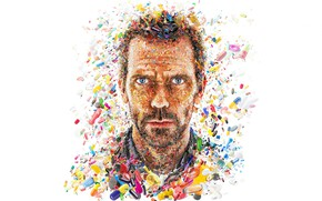 Picture face, collage, Hugh Laurie, pills, Dr. House, medicine, capsules, Gregory House