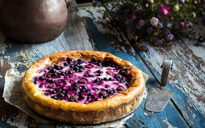 Picture summer, flowers, berries, blueberries, pie