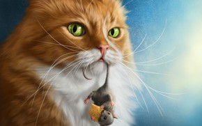 Picture photoshop, the situation, cheese, mouse, red cat