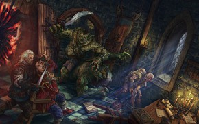 Picture the portal, art, monsters, the Witcher, goblins, Witcher, teleport