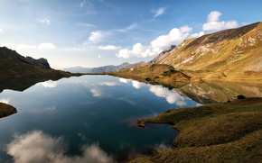 Picture clouds, mountains, lake, Germany, Alps, house