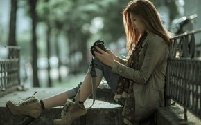 Picture girl, street, camera