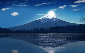 Picture Japan, sky, cloud, lake, asian, oriental, asiatic, Fuji, kumo, japonese, by iitheluciferii, montai, Fuji Mountain, …