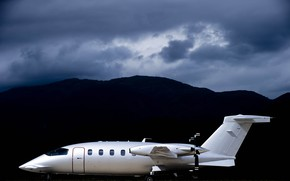 Picture grass, clouds, mountains, clouds, Airport, the plane, Piaggio, Avanti, P-180