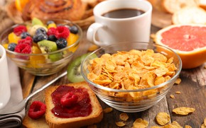 Picture berries, coffee, Breakfast, fruit, jam, cereal, toast
