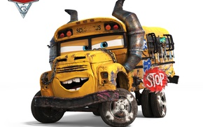 Wallpaper Disney, animated film, Pixar, school bus, Cars 3, animated movie, Cars, bus