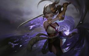 Picture anime, warrior, fantasy, art, Knife Le In, Murasaki