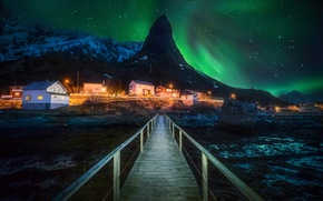 Picture light, mountains, night, Northern lights, Norway
