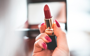 Picture hands, lipstick, red, nails, manicure