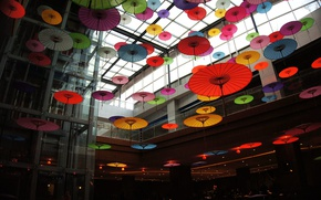 Picture colorful, photography, color, interior, situation, entrance, lift, lobby, Umbrellas, Japanese umbrellas