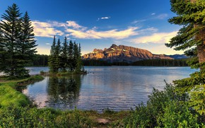 Picture forest, the sky, grass, clouds, trees, mountains, lake, shore, Canada