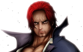 Picture red, game, One Piece, red hair, pirate, hat, anime, man, redhead, captain, asian, Shanks, manga, …