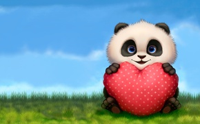 Picture summer, smile, mood, holiday, heart, art, Panda, pillow, Valentine, clearing, children's