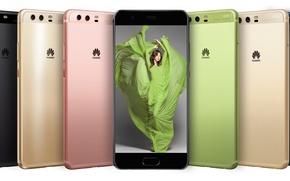 Picture girl, logo, dress, woman, brunette, smartphone, Huawei, MWC 2017, Huawei P10
