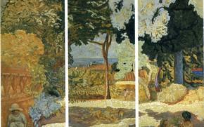 Picture 1911, The Mediterranean sea, Nabi intimism, Pierre Bonnard, Panels of three parts