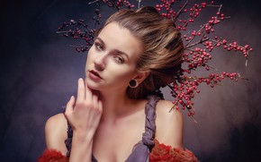 Wallpaper branches, berries, face, Miss Frisco, hand, look, hairstyle, style, portrait
