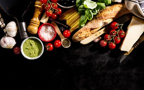 Picture bread, tomatoes, sauce, food, olives, spices, Basil, italian