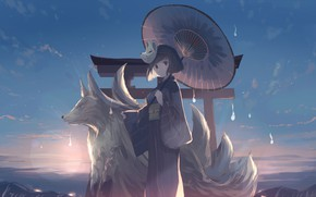 Picture the sky, girl, clouds, sunset, mountains, nature, wolf, anime, mask, art, kimono, mfua. RU