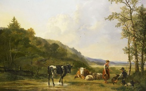 Picture animals, oil, picture, canvas, Pieter Gerardus van OS, Landscape with Shepherds and Cattle