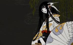 Picture girl, branches, smoke, anime, art, barrette, xxxHolic