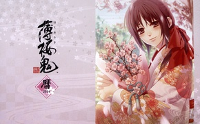 Picture Sakura, characters, kimono, flowering, art, Demons pale cherry, Yukimura Chizuru, Hakuouki Shinsengumi Kitano, Yone Kazuki