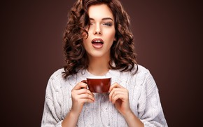 Picture look, girl, hairstyle, Cup, wavy hair