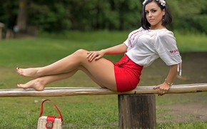 Picture greens, grass, trees, sexy, pose, Park, model, skirt, makeup, figure, brunette, shop, hairstyle, blouse, bag, …