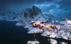 Picture winter, light, snow, lights, rocks, home, settlement