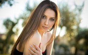 Picture look, girl, light, shoulders, bokeh