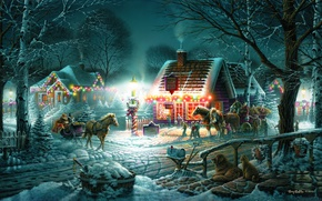 Picture winter, snow, holiday, home, the evening, horse, wagon, sleigh, garland, Terry Redlin