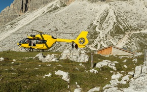 Wallpaper stones, yellow, grass, the sun, rocks, house, helicopter, slope, mountain