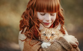 Picture cat, friendship, girl, red