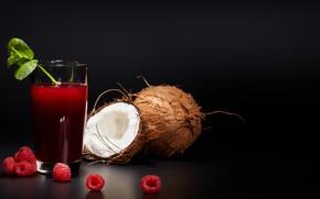 Picture raspberry, coconut, raspberry juice, mint