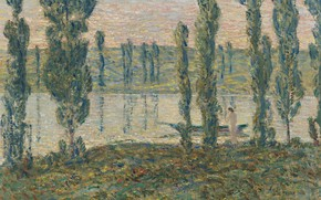Picture girl, trees, landscape, boat, picture, Frederick Childe Hassam, Evening on the River, Childe Hassam