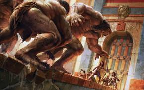 Picture clash, battle, axes, castle, armor, fantasy, swords, situation, artwork, soldiers, weapons, digital art, fantasy art, ...