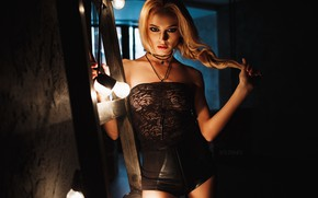 Picture look, pose, hair, shorts, hand, light bulb, SOLOVЬEV, Yulia Matveeva