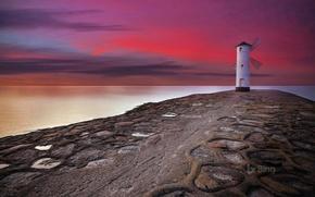 Picture clouds, lighthouse, Poland, glow, Świnoujście, Rod Mill