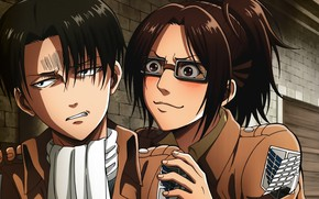 Wallpaper Attack of the titans, Art, Hanji Zoe, Levi Ackerman, Anime