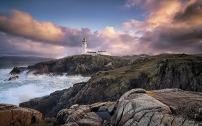 Picture sea, rocks, coast, lighthouse, Ireland, Ireland, Donegal, Balloor, Fanad Lighthouse