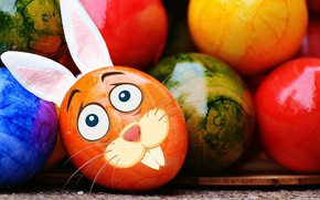 Picture colorful, rabbit, smile, Easter, rainbow, Easter, eggs, funny, decoration, Happy, the painted eggs