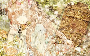 Picture garden, the door, vocaloid, Vocaloid, key, pink hair, closed eyes, Megurine Luka, rose bushes