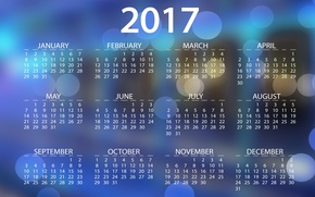 Picture 2017, new year, months, bokeh, year, new 2017, background, date, vector, blue, blue, calendar, calendar …