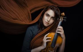 Picture look, girl, mood, violin, black background, shawl, Shima Yadollahi