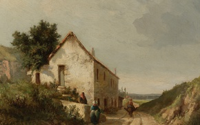Picture landscape, picture, Camille Pissarro, Road house with Figures in the campaign