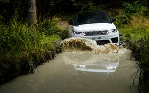 Picture road, forest, water, wave, puddle, SUV, Land Rover, black and white, Range Rover Sport P400e …