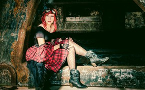 Picture girl, style, shoes, glasses, steampunk, red hair
