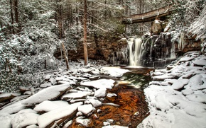 Picture winter, forest, snow, trees, bridge, river, waterfall, West Virginia, West Virginia, Elakala Falls, Blackwater Falls …