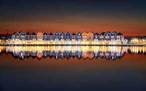 Picture night, lights, reflection, home, Netherlands, Houten